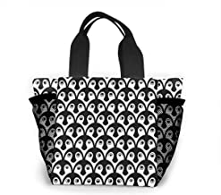 Portable Lunch Bags, Reusable Large Shopping Tote, Independent Mesh Bags On Both Sides For Entertainment, Picnics, Travel, Beach-Penguin black and white