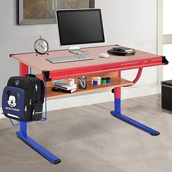 Adjustable Wooden Table Art And Craft Drawing Desk Drafting With Shelf Powder Coated Metal Frame Comfortable Workspace Perfect Home Studio School