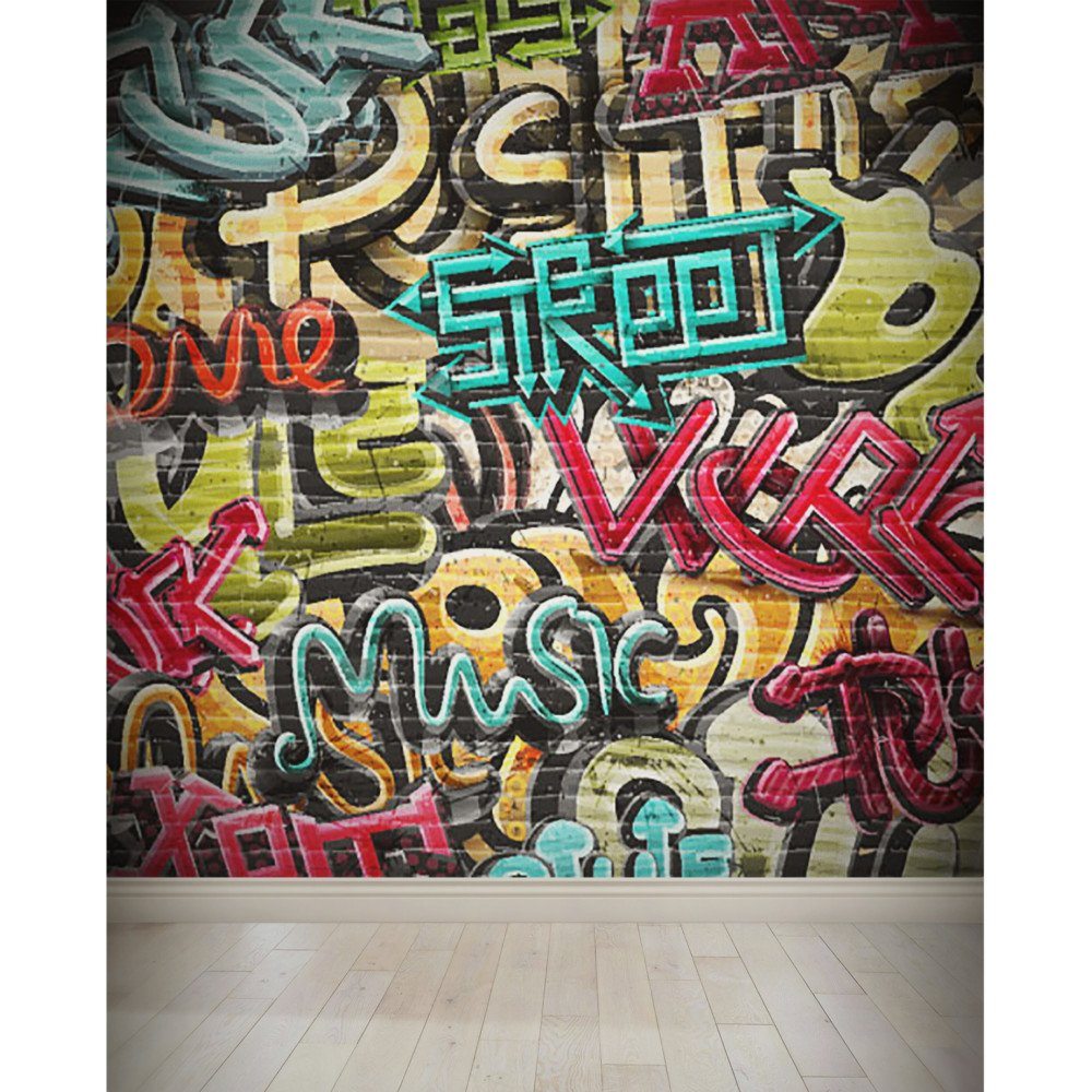 Nish Graffiti Wall Mural Wallpaper For Kids Room 012 Vinyl Wall Covering 144sqft 12ft X 12ft Made In 3pc Amazon In Home Improvement