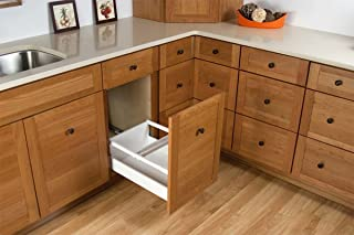 Rev-A-Shelf - TWCSD-21DM-2 - Double 35 Qt. White Pull-Out Wood Bottom Mount Waste Container with Servo-Drive for 18 in. Opening
