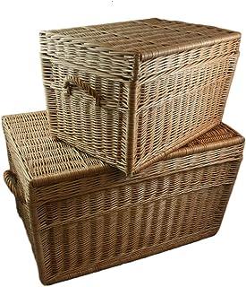 weeco - Juego de dos cestas de mimbre (80 cm y 60 cm, con tapa)