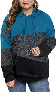 Eytino Women Plus Size Perfect Three-Quarter Sleeve Scoop Neck Striped Color Block Tunic Tops (XL-5XL)