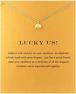 Cute Sun Butterfly Necklace Good Luck Elephant Pendant Friendship Chain Necklace with Message Card