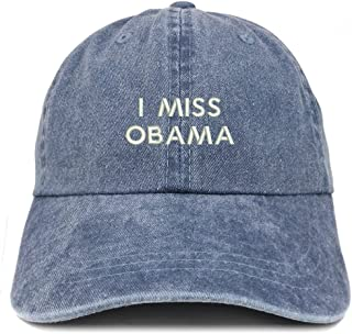 Trendy Apparel Shop I Miss Obama Embroidered Pigment Dyed Cotton Baseball Cap
