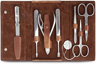 Nippes Solingen - Set de manicura (7 piezas, acero inoxidable y sin níquel, estuche de piel de vacuno con botón de presión, línea Nippes Premium), color marrón