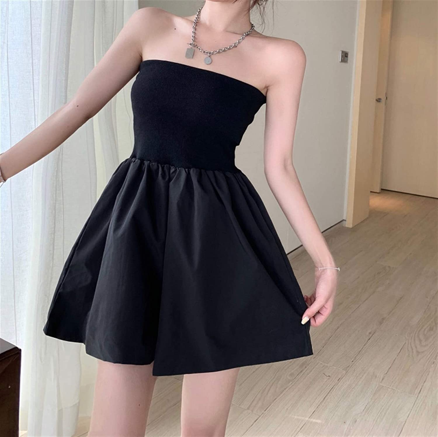 BangHaa Summer Fashion Fashion Waist Slimming Korean Version of The New Ladies Style Tube Top One-Piece Pants Skirt 2021 Dress Small Black Dress Women's Clothing for Beach Vacation