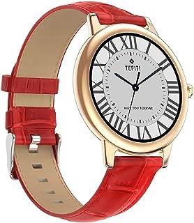 XYCSM Smart Watch,Relojes Inteligentes, Nuevos Relojes Inteligentes, Damas, Pantalla Redonda, Deportes de Deportes, Correa de Aleación a Prueba de Agua (Aplicable a Android Y Ios) / Rojo