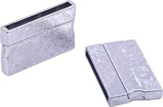KONMAY 3 Sets Ice Flower/Snowflake Pattern Silver Rectangle 30.0x3.0mm Glue-in Ends Flat Magnetic Jewelry Clasps and Closures for Bracelet Making