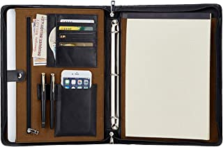 Custom Engraved Handmade Genuine Leather 3 Ring Binder Portfolio Folder for 13.3 inches Tablet/Laptop,Business Padfolio Organizer for A4 Notebook/Notepad/Legal Pad, Personalized Monogrammed, Black