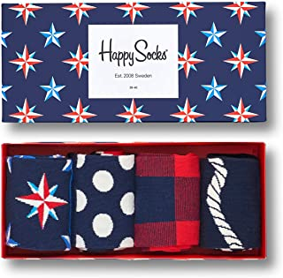 Men's Colorful and Fun Patterned Cotton Dress Socks in Gift Box, Set of 4
