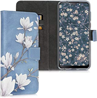 kwmobile Wallet Case Compatible with HTC Desire 19+ / 19s - PU Leather Flip Cover with Card Slots and Stand - Magnolias Ta...