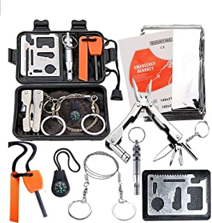 EZONEDEAL Emergency Outdoor Survival Kit, 9-In-1 Compact Outdoor Survival Gear Kits Portable EDC Emergency Safety Survival...