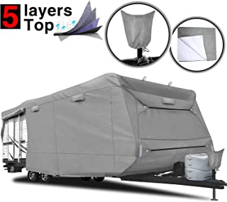 "RVMasking 5-ply Top Travel Trailer RV Cover, Fits 24`1"" - 26` RVs - Breathable Waterproof Anti-UV Ripstop Camper Cover with 15 PCS Windproof Buckles & Tongue Jack Cover"