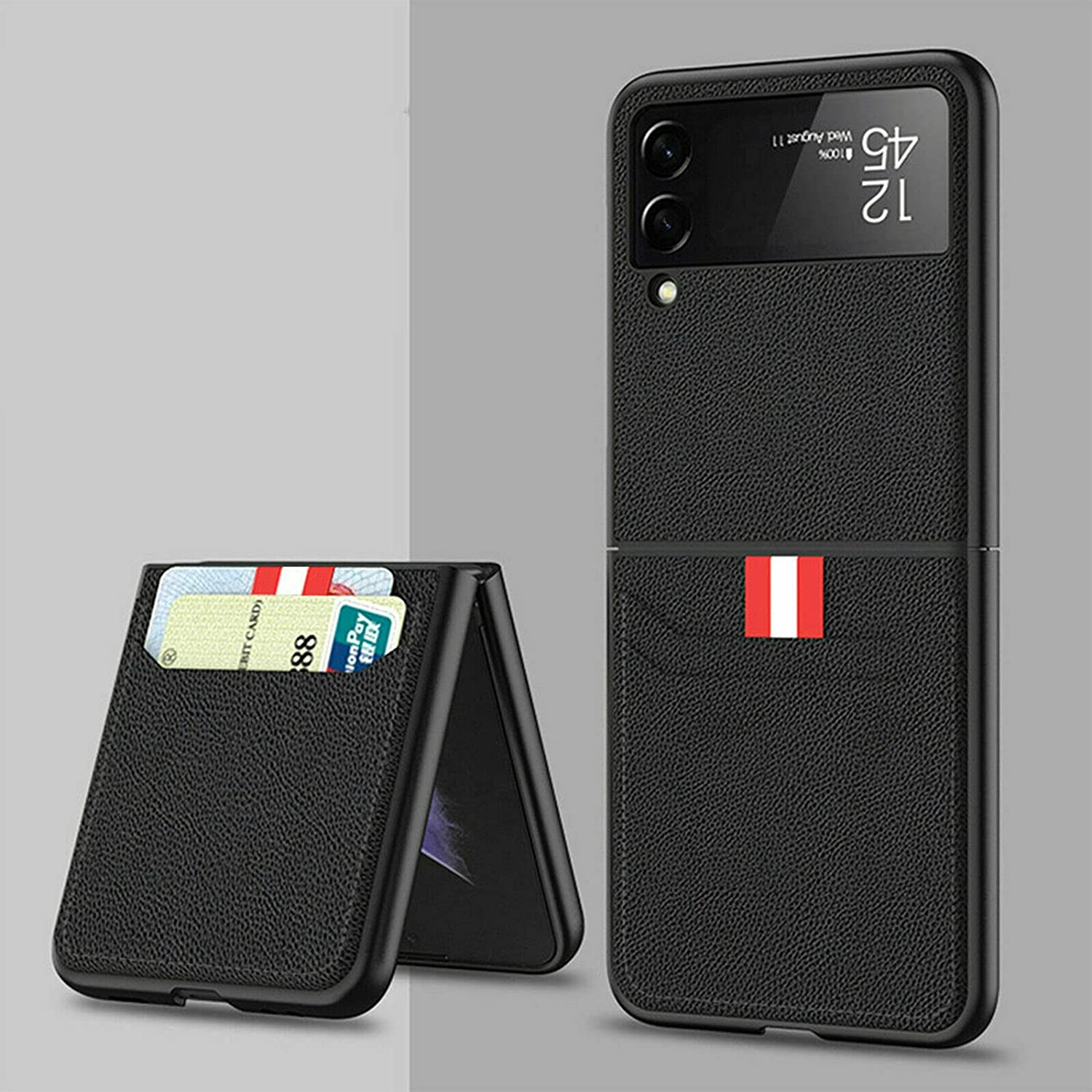 for Samsung Galaxy Z Flip 3 5G Case with Card Holder - Luxury PU Leather Phone Folding Case Cover Full Protective Cases (Black)