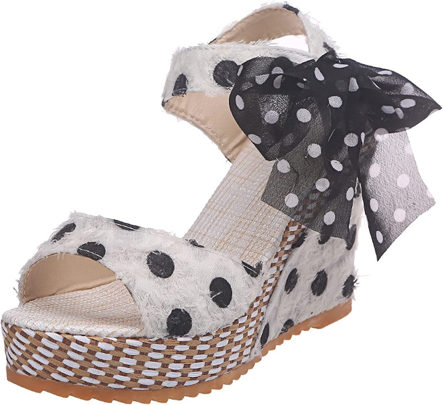 Women's Wedge Sandals Peep All items free shipping Toe Direct sale of manufacturer Chunky Strappy Polka Dots Bowknot