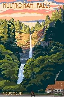 Multnomah Falls, Oregon - Sunset (12x18 Fine Art Print, Home Wall Decor Artwork Poster)