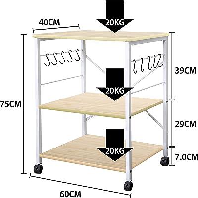 キッチンワゴン キッチンラック レンジ台 ラック 食器棚 調理台 キャスター付き スリム3段式 レンジラック 省スペース 耐荷重60KG 幅60x奥行40x高さ75cm