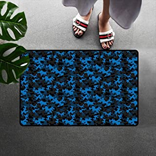 Wang Hai Chuan Camouflage Inlet Outdoor Door mat Dark Toned Pattern Equipment Masking and Hiding Uniform Attire Design Catch dust Snow and mud W29.5 x L39.4 Inch Black Blue Army Green