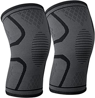 Knee support brace compression sleeve for women men powerlifting mountain bike Basketball Jogging Squats Workouts, Arthritis, Injury Recovery -Knitted cotton with Silicone Non-slip pad -1Pair