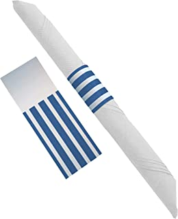 Nautical Beach Theme Blue and White Party Supplies Self Adhesive Paper Napkin Rings for Baby Shower Decorations, Wedding or Birthday Decor, 40 Rings by The French Concept