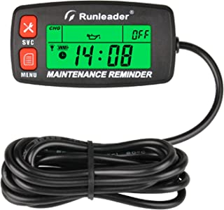 Runleader, tacómetro digital autoalimentado con medidor de horas, alerta de RPM, recordatorios de mantenimiento múltiples, pantalla de retroiluminación y selección para generador de cortacésped.