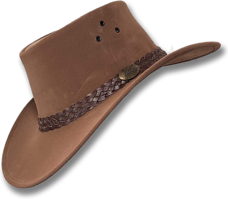 Oztrala】Jacaru HAT P-Leather Mens Womens Cowboy Australian Felt Fedora Indiana Jones Outback HBR1 - US