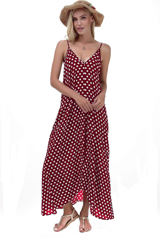 LILBETTER Women ! Super beauty product restock quality top! V-Neck Polka Dot Spaghetti Strap Attention brand Long Boho Print