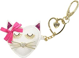 White Cat Key Fob in a Betsey Johnson Pouch