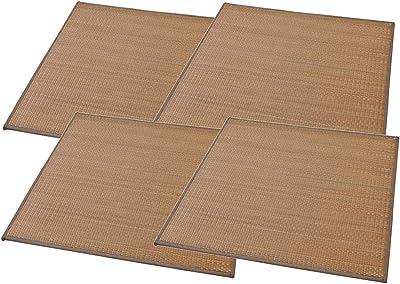 大島屋(Ooshimaya) 畳 ブラウン 約70×70×1.5cm イ草 ふんわりユニット畳 与那国 ブラウン 4枚セット 4枚入