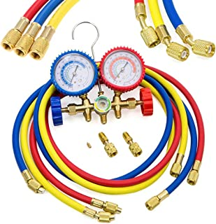 LIYYOO Refrigerant Charging Hoses with Diagnostic Manifold Gauge Set for R410A R22 R404 Refrigerant Charging,1/4