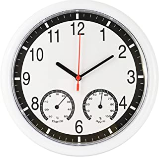 10 Inch Silent Non Ticking Wall Clock, with Thermometer and Hygrometer, Decorative Wall Clocks Battery Operated, for Offic...