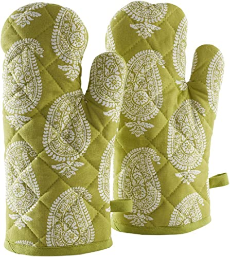 Amazon Brand - Solimo 100% Cotton Padded Oven Gloves, Paisley (Pack of 2, Green) product image