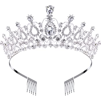 Hicarer Wedding Bridal Crown Rhinestone Crystal Decoration Headband Prom Queen Crown with Comb, Silver