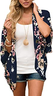 Women Floral Kimono Cardigan Chiffon Casual Loose Open Front Cover Up Tops (27 Colors)