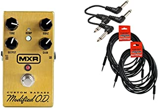 Dunlop MXR M77 Custom Badass Modified O.D. Overdrive Guitar Effects Pedal and Cable Bundle w/ 4 FREE Items: 2x 18.6' Guitar Cables, 2x Patch Cables