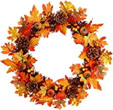 CLISPEED Flower Wreath Flower Garland Simulated Maple Pine Cones Wreath PVC Autumn Scenery Themed Adornment for Home (60CM...