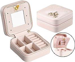 GOTONE Portable Jewelry Box, Travel Jewelry Case Earring Holder Necklace Organizer Jewelry PU Leather Display Storage,with Mirror & Zipper for Rings Earrings Necklace, Faux_Leather, Small Pink
