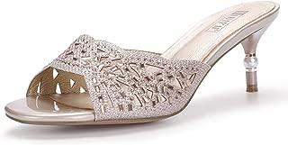 IDIFU Women's IN2 Nina Rhinestone Open Toe Slide Heeled Sandals Stiletto Kitten Heel Dress Party Mule Shoes