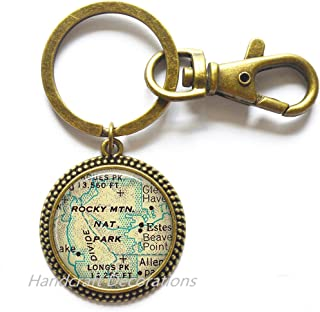 Charming Keychain Rocky Mountain National Park map Keychain, Rocky Mountain map Key Ring charm, map jewelry,A0097