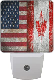 TropicalLife Set of 2 Goodnight USA Canada Friendship Combiantion Flag Theme LED Night Light Dusk to Dawn Sensor Plug in Designs Indoor Home Decor for Adult Kids Baby Children
