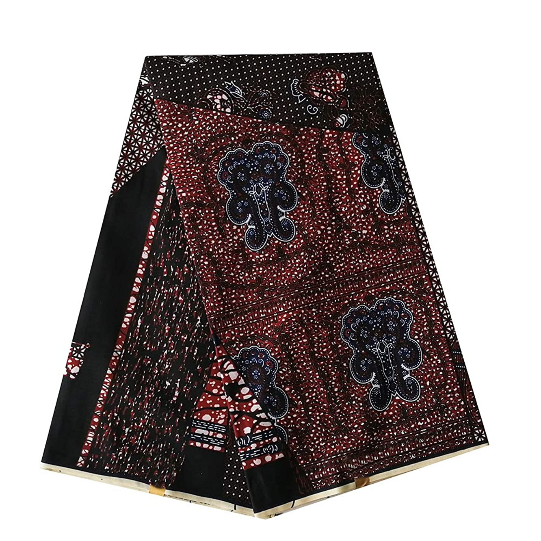 pqdaysun African Super Wax Print Fabric Ankara Fabric Wax Material 6 Yards for Sewing Dress Clothing wax002-wine (Brown)