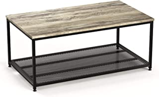 Ballucci Vintage Coffee Table, 2-Tier Cocktail with Storage Shelf, Wood Look Accent Furniture with Metal Frame, Metal Mesh, for Living Room, Easy Assembly, Rustic Grey