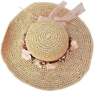 Straw Hat Beach Hat Round Cap Summer Shade Sunscreen Wide Brimmed Hat(Khaki)