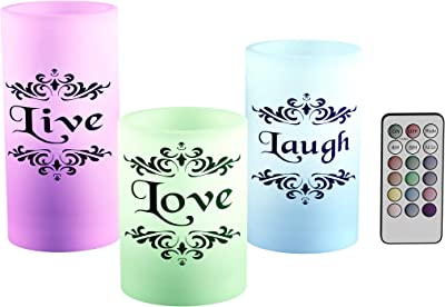 Lavish Home LED Candles with Remote Control-Set of 3 Live Laugh Love, Real Wax Multicolor Realistic Flameless Pillar Lights-Ambient Home Decor