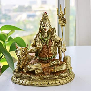 "Bangbangda Lord Shiva Statue in Lotus - 6.3"" Height Resin Idol Hindu Deities Statuettes Meditation Sculpture Home Decor"