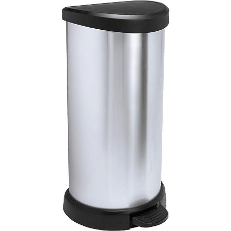Curver 181125 Cubo de basura con pedal 40L, Metal, 30.9 x 34.9 x 69.7 cm, Plata