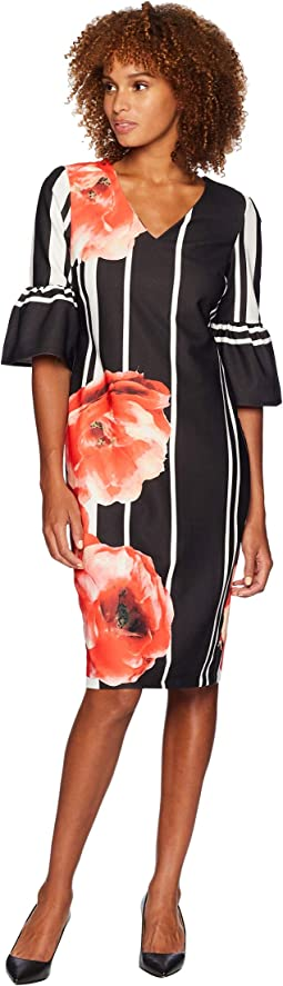 Ruffle Sleeve V-Neck Floral Placed Scuba Crepe Dress