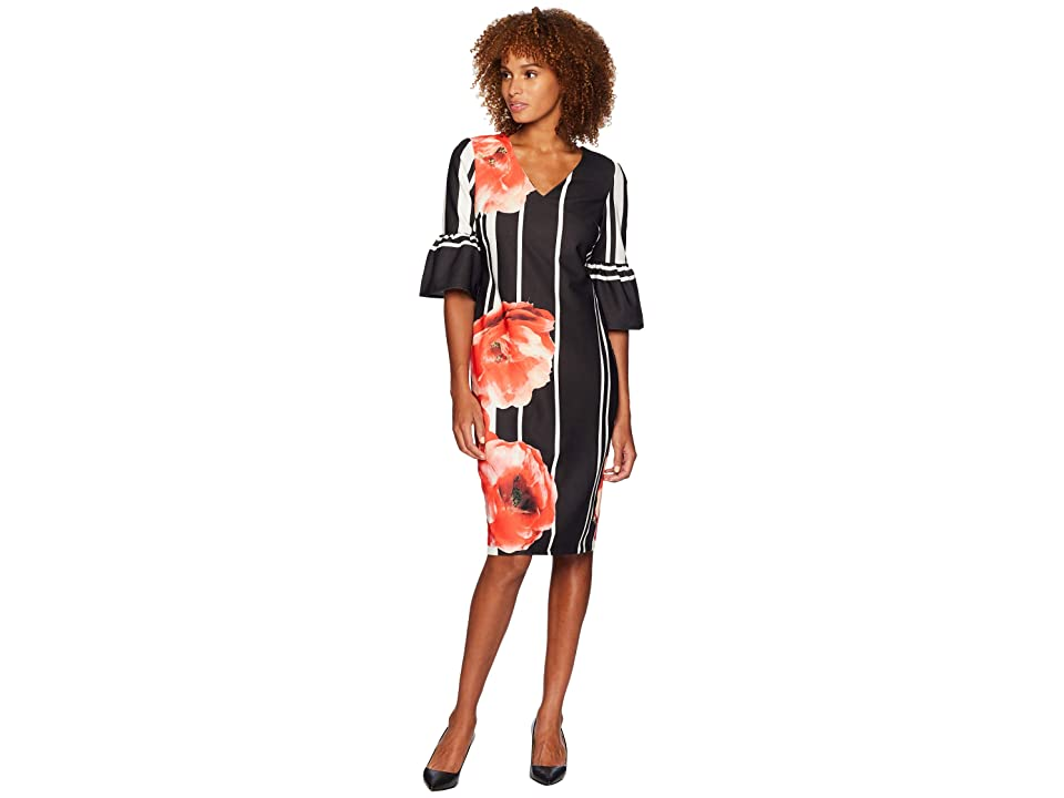 eci Ruffle Sleeve V-Neck Floral Placed Scuba Crepe Dress (Black/Red) Women