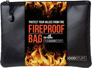 The Good Stuff Water and Fireproof Pouch (2000℉) - Protect Money, Passports, and Documents with a Fireproof Money Bag for ...