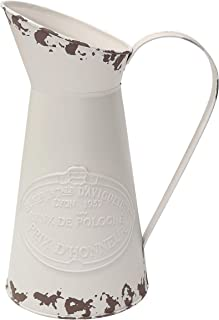 MISIXILE French Style Country Vintage White Large Vase, Metal Rustic Primitive Jug Vase Pitcher for Home Wedding Cafe Decor-11(Off-White)